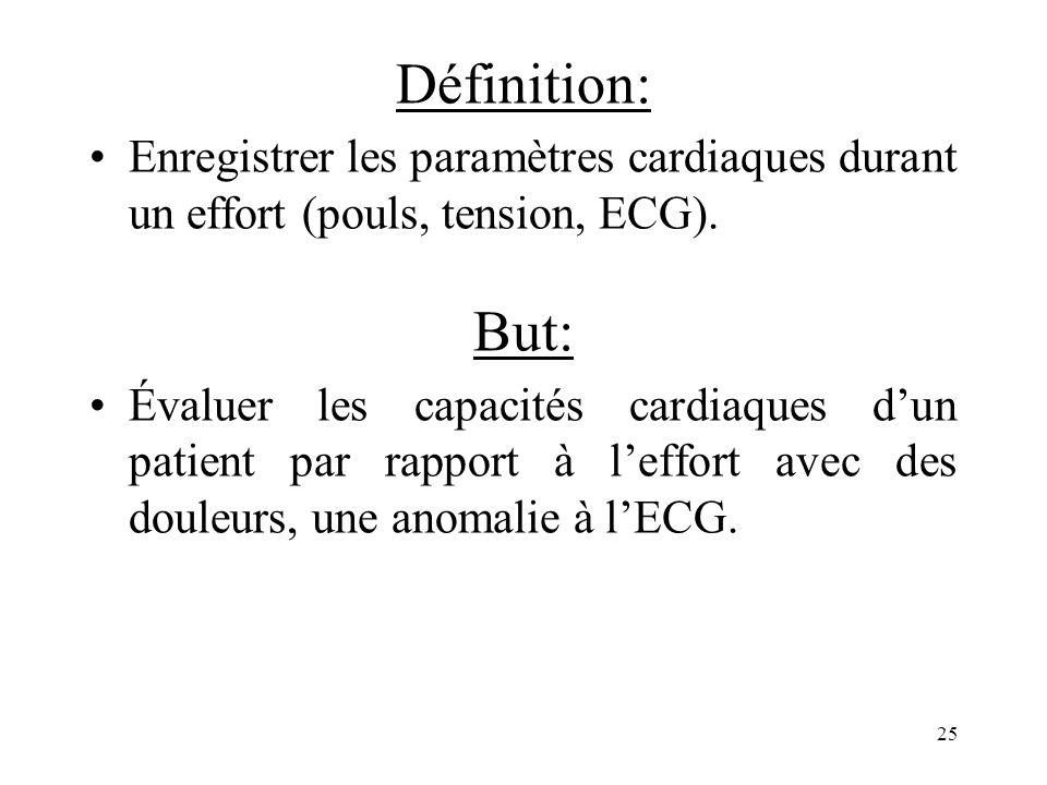 Définition: Enregistrer les paramètres cardiaques durant un effort (pouls, tension, ECG). But: Évaluer les capacités cardiaques dun patient par rappor