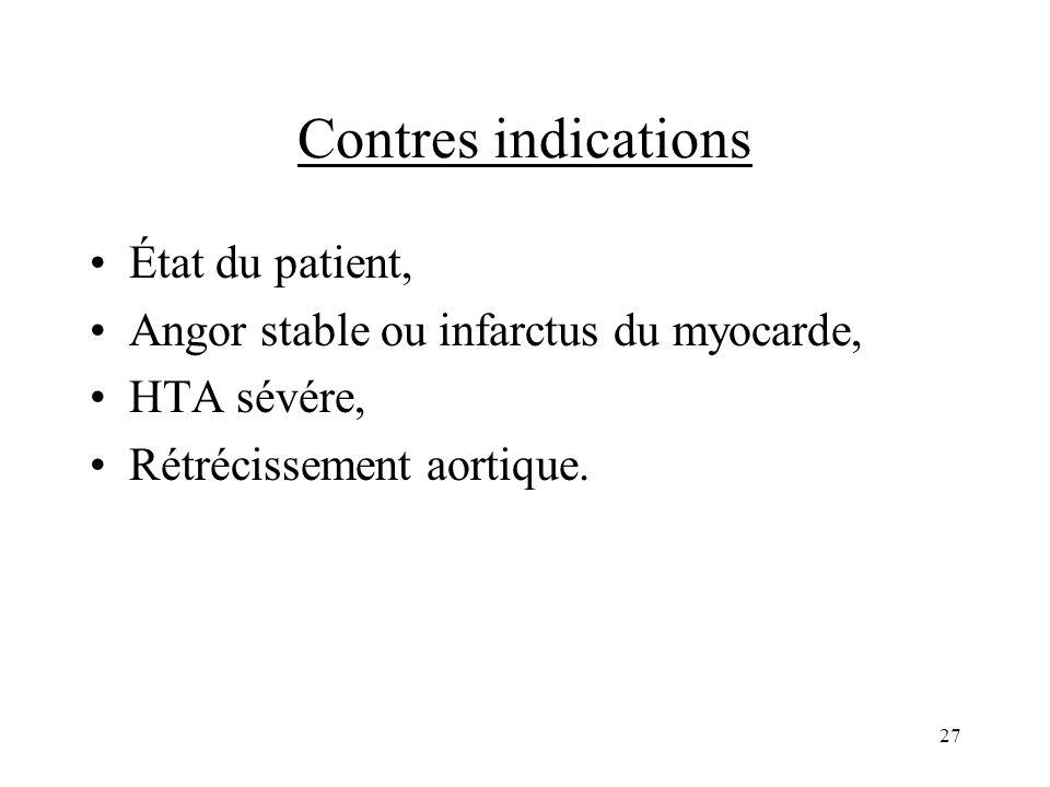 Contres indications État du patient, Angor stable ou infarctus du myocarde, HTA sévére, Rétrécissement aortique. 27