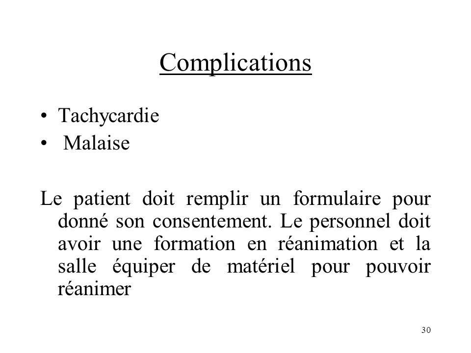 Complications Tachycardie Malaise Le patient doit remplir un formulaire pour donné son consentement. Le personnel doit avoir une formation en réanimat