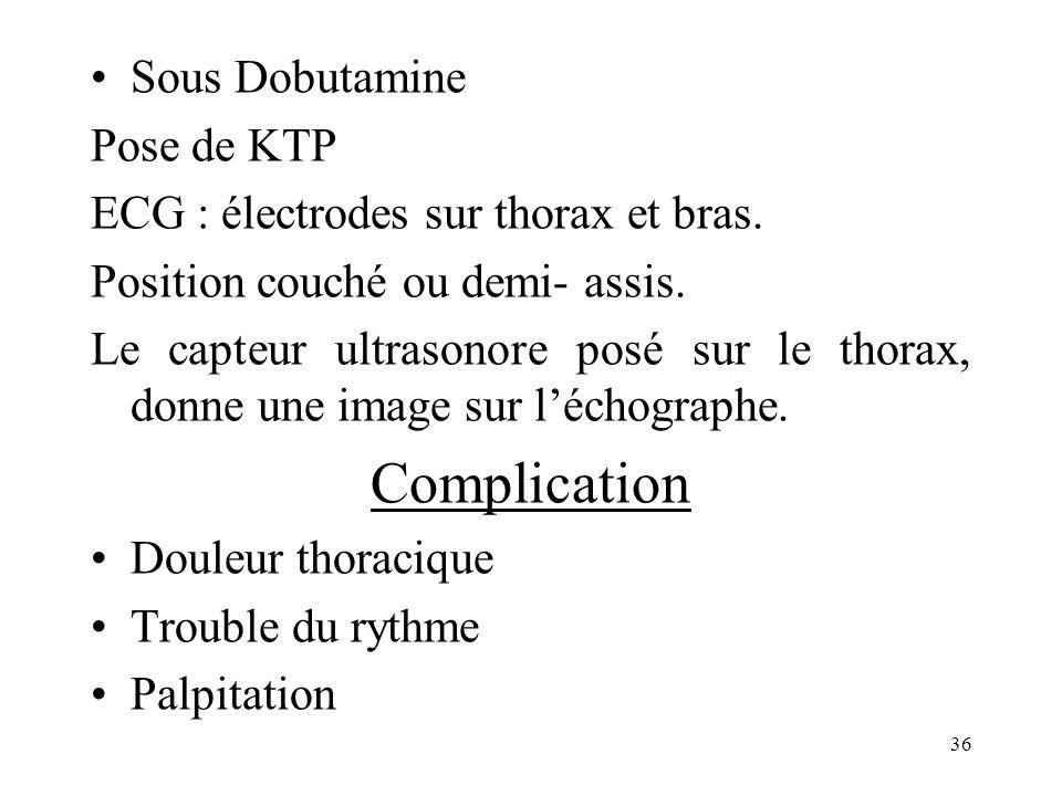 Sous Dobutamine Pose de KTP ECG : électrodes sur thorax et bras. Position couché ou demi- assis. Le capteur ultrasonore posé sur le thorax, donne une