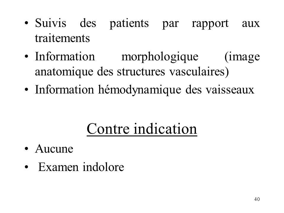 Suivis des patients par rapport aux traitements Information morphologique (image anatomique des structures vasculaires) Information hémodynamique des