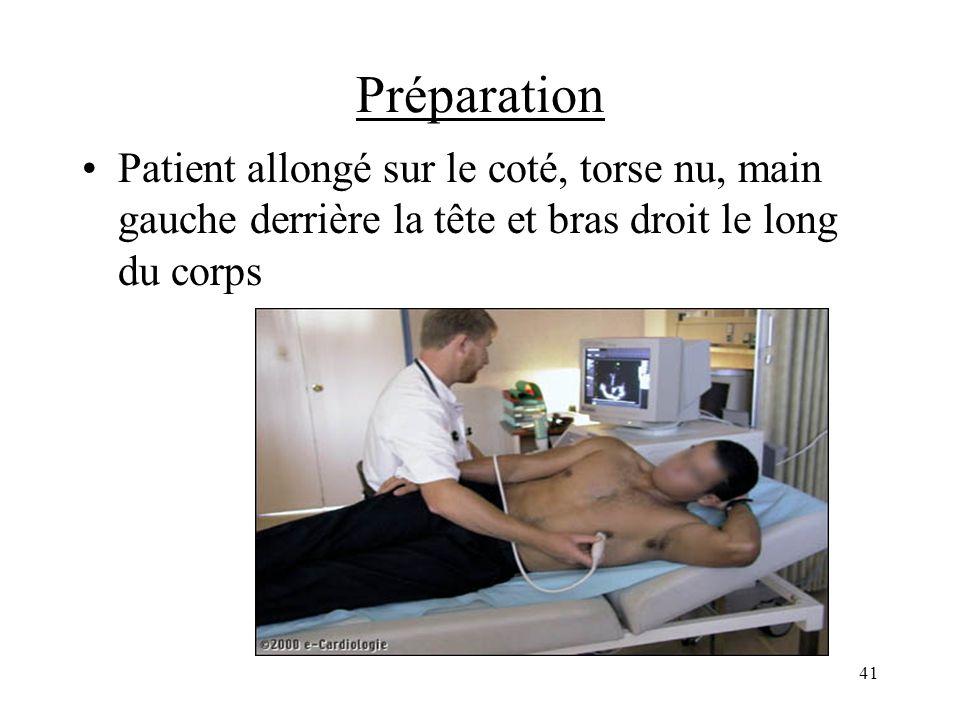 Préparation Patient allongé sur le coté, torse nu, main gauche derrière la tête et bras droit le long du corps 41