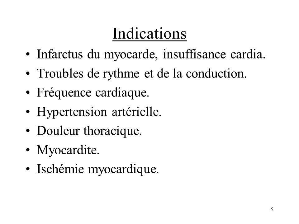 Indications Infarctus du myocarde, insuffisance cardia. Troubles de rythme et de la conduction. Fréquence cardiaque. Hypertension artérielle. Douleur