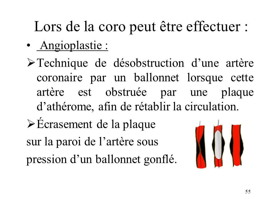 Lors de la coro peut être effectuer : Angioplastie : Technique de désobstruction dune artère coronaire par un ballonnet lorsque cette artère est obstr