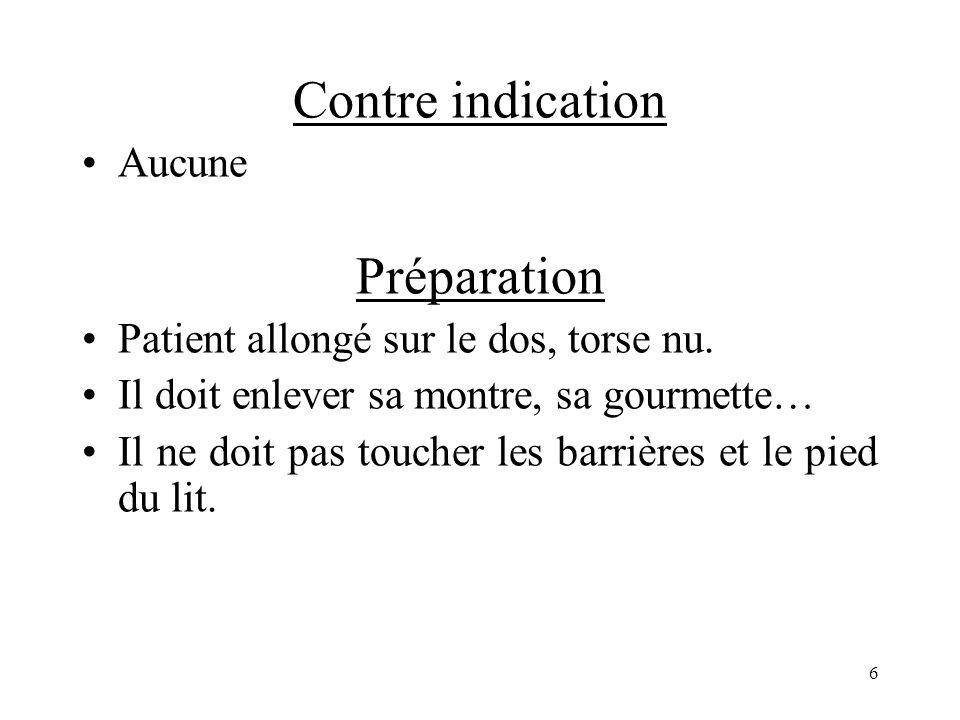 Contres indications État du patient, Angor stable ou infarctus du myocarde, HTA sévére, Rétrécissement aortique.