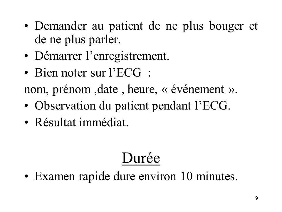 Demander au patient de ne plus bouger et de ne plus parler. Démarrer lenregistrement. Bien noter sur lECG : nom, prénom,date, heure, « événement ». Ob