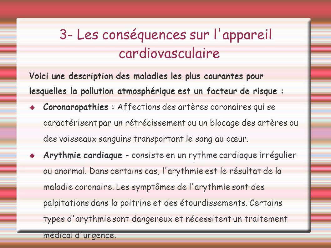 3- Les conséquences sur l'appareil cardiovasculaire Voici une description des maladies les plus courantes pour lesquelles la pollution atmosphérique e