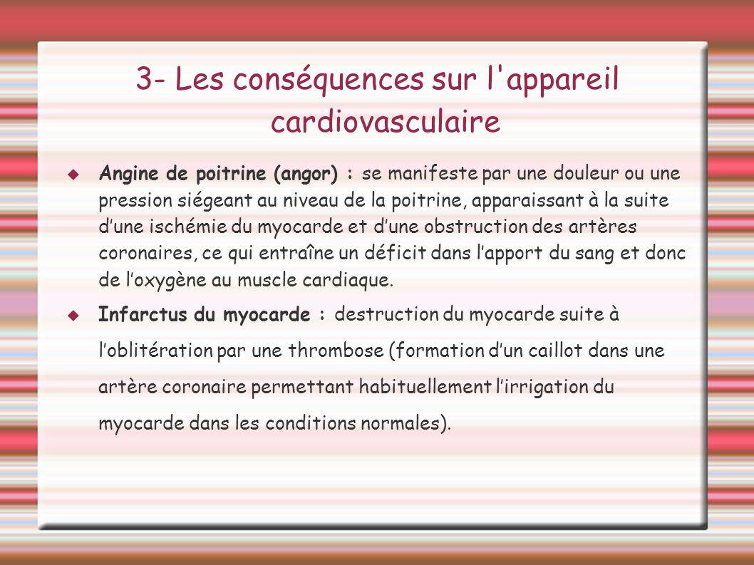 3- Les conséquences sur l'appareil cardiovasculaire Angine de poitrine (angor) : se manifeste par une douleur ou une pression siégeant au niveau de la