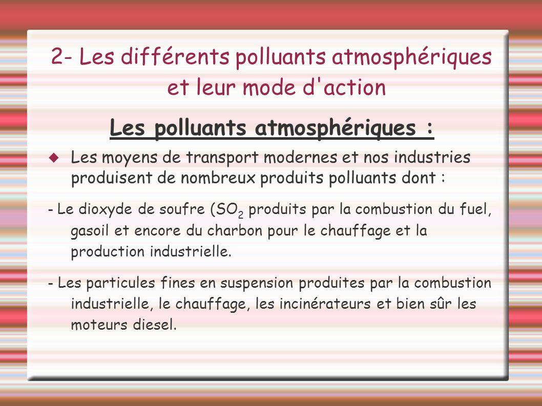 2- Les différents polluants atmosphériques et leur mode d'action Les polluants atmosphériques : Les moyens de transport modernes et nos industries pro