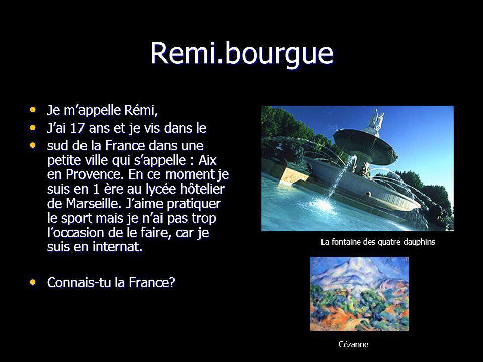 Remi.bourgue La fontaine des quatre dauphins Cézanne Je mappelle Rémi, Je mappelle Rémi, Jai 17 ans et je vis dans le Jai 17 ans et je vis dans le sud