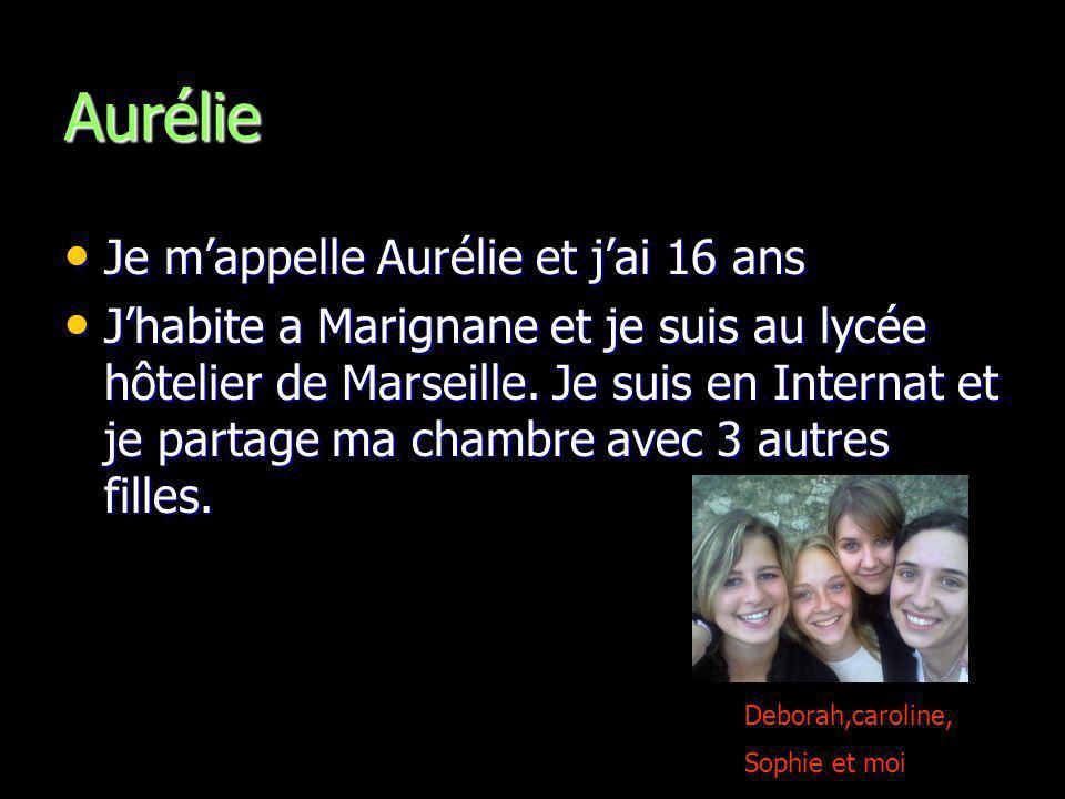 Aurélie Je mappelle Aurélie et jai 16 ans Je mappelle Aurélie et jai 16 ans Jhabite a Marignane et je suis au lycée hôtelier de Marseille. Je suis en