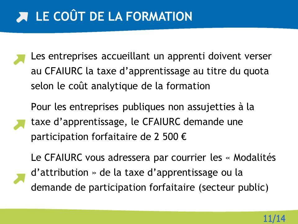 Les entreprises accueillant un apprenti doivent verser au CFAIURC la taxe dapprentissage au titre du quota selon le coût analytique de la formation Po