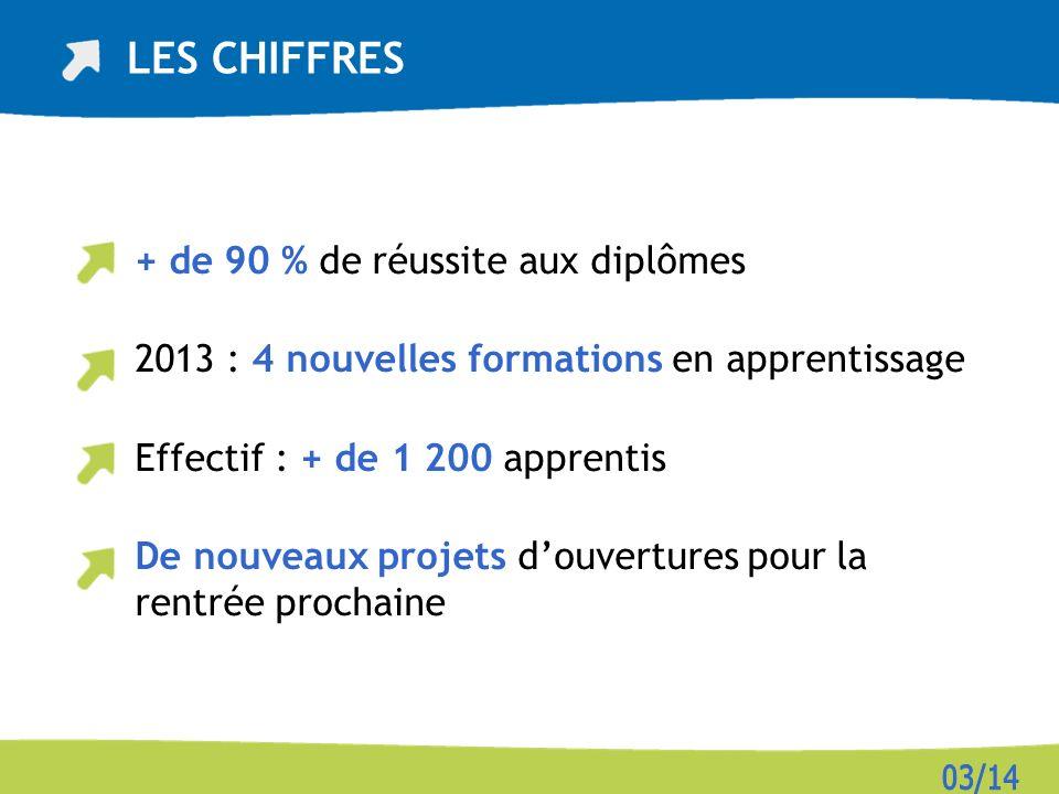 + de 90 % de réussite aux diplômes 2013 : 4 nouvelles formations en apprentissage Effectif : + de 1 200 apprentis De nouveaux projets douvertures pour