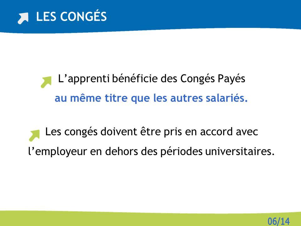 Lapprenti bénéficie des Congés Payés au même titre que les autres salariés.