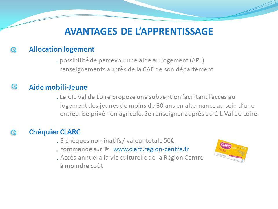 AVANTAGES DE LAPPRENTISSAGE Allocation logement. possibilité de percevoir une aide au logement (APL) renseignements auprès de la CAF de son départemen