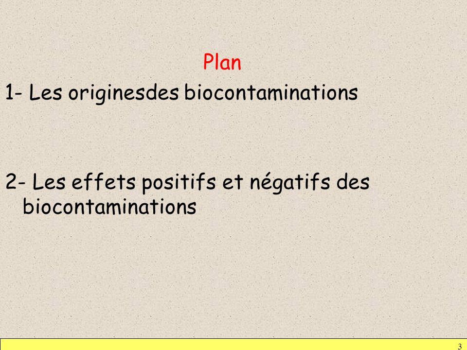 Plan 1- Les originesdes biocontaminations 2- Les effets positifs et négatifs des biocontaminations 3