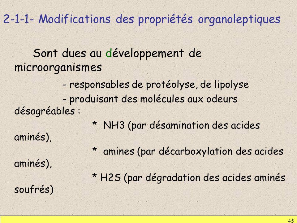 2-1-1- Modifications des propriétés organoleptiques 45 Sont dues au développement de microorganismes - responsables de protéolyse, de lipolyse - produ