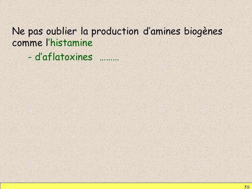 59 Ne pas oublier la production damines biogènes comme lhistamine - daflatoxines ………