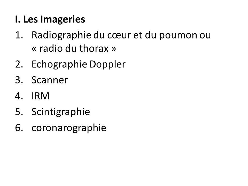 I. Les Imageries 1.Radiographie du cœur et du poumon ou « radio du thorax » 2.Echographie Doppler 3.Scanner 4.IRM 5.Scintigraphie 6.coronarographie