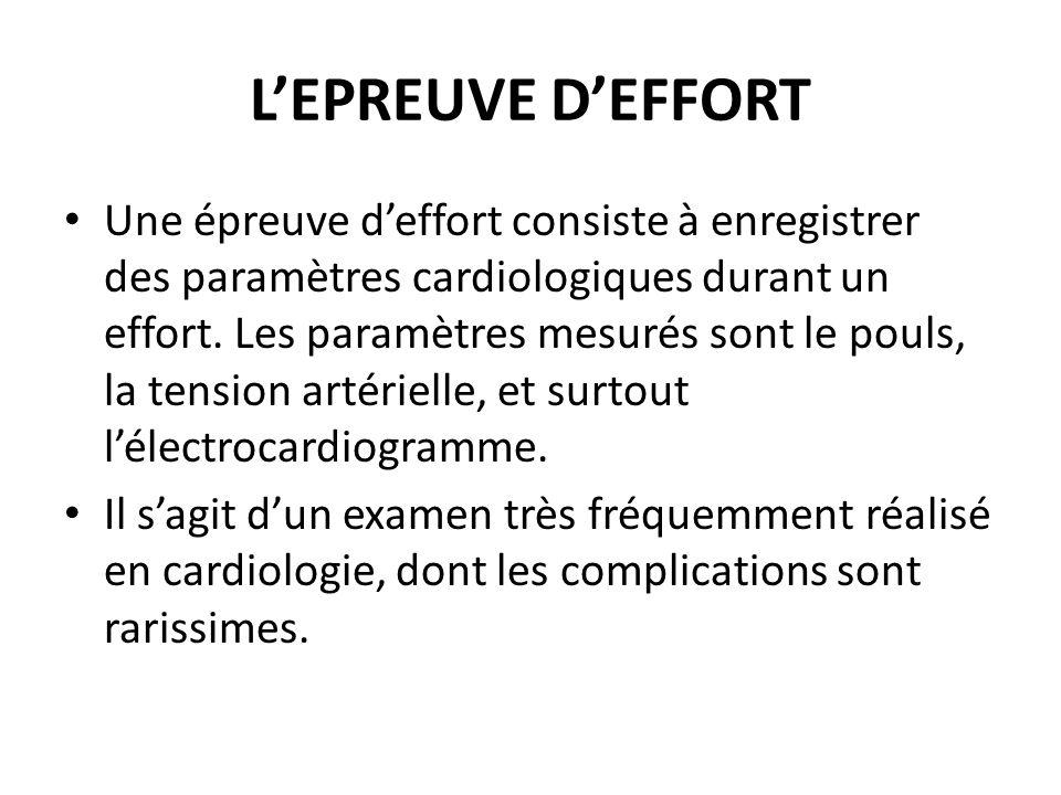 LEPREUVE DEFFORT Une épreuve deffort consiste à enregistrer des paramètres cardiologiques durant un effort. Les paramètres mesurés sont le pouls, la t
