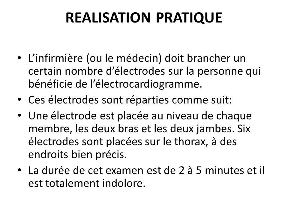 REALISATION PRATIQUE Linfirmière (ou le médecin) doit brancher un certain nombre délectrodes sur la personne qui bénéficie de lélectrocardiogramme. Ce