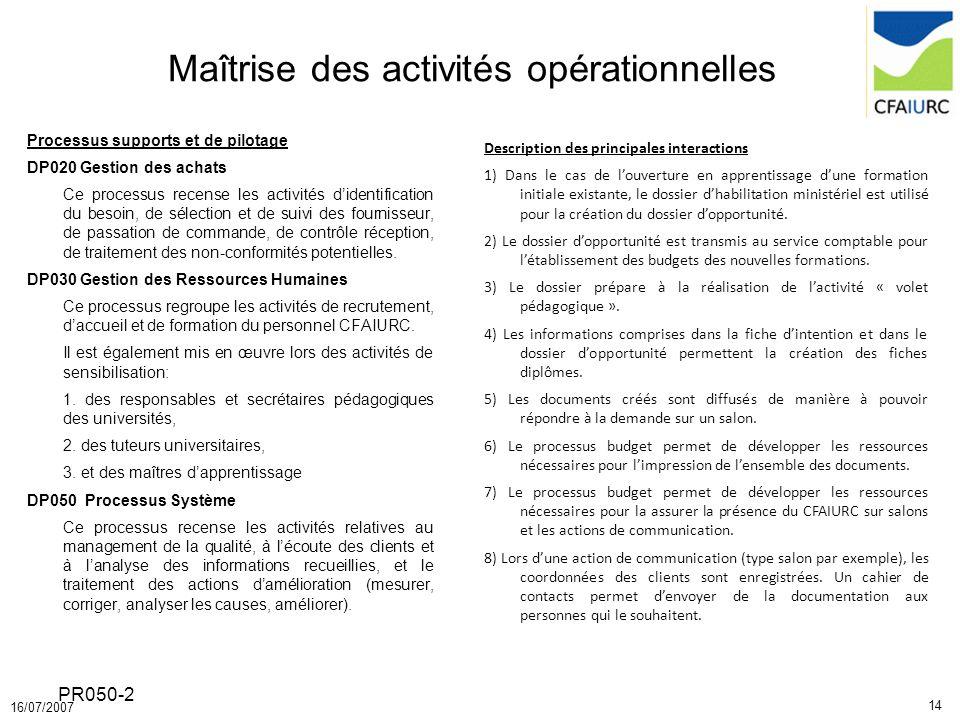 14 16/07/2007 PR050-2 Maîtrise des activités opérationnelles Processus supports et de pilotage DP020 Gestion des achats Ce processus recense les activ