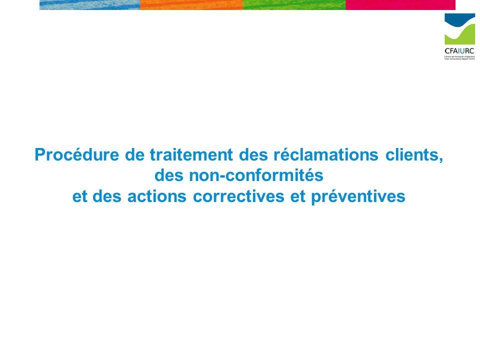 Procédure de traitement des réclamations clients, des non-conformités et des actions correctives et préventives