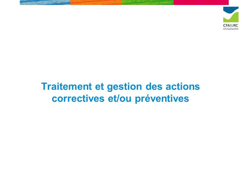 Traitement et gestion des actions correctives et/ou préventives