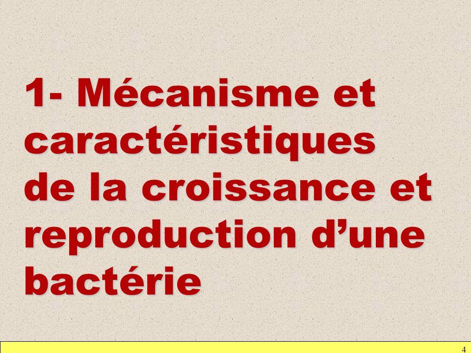 4 1- Mécanisme et caractéristiques de la croissance et reproduction dune bactérie