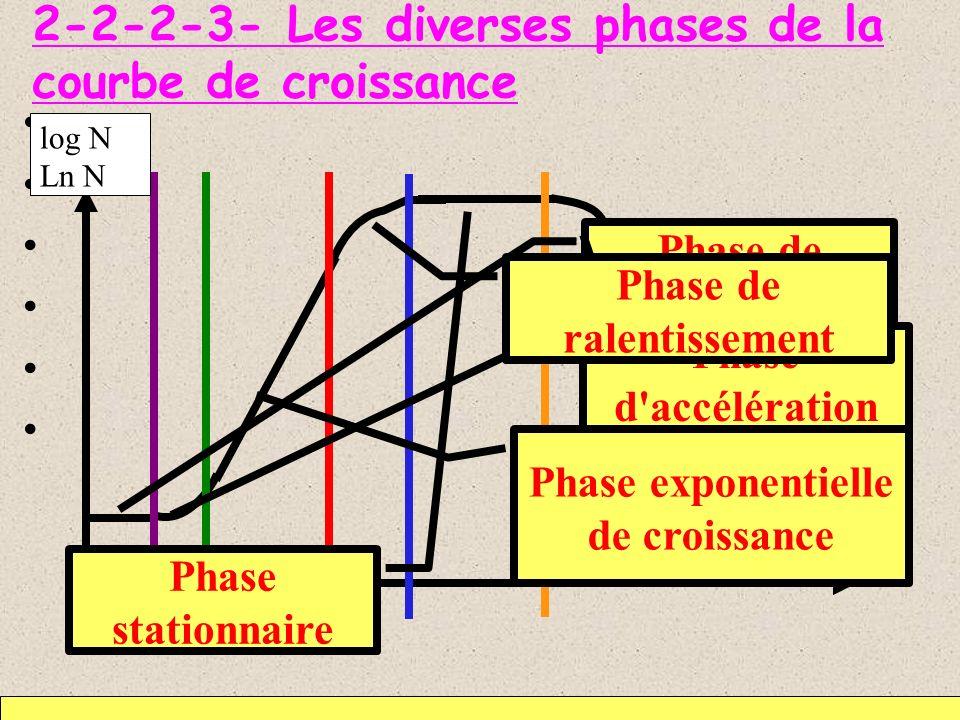 2-2-2-3- Les diverses phases de la courbe de croissance 4 5 temps Phase de latence Phase d'accélération Phase exponentielle de croissance Phase statio