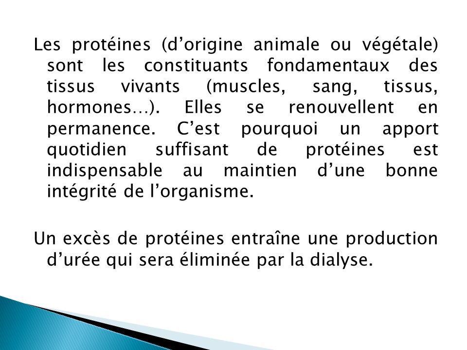 Les protéines (dorigine animale ou végétale) sont les constituants fondamentaux des tissus vivants (muscles, sang, tissus, hormones…). Elles se renouv