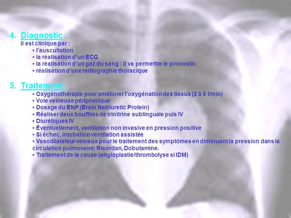 4.Diagnostic : Il est clinique par : lauscultation la réalisation dun ECG la réalisation dun gaz du sang : il va permettre le pronostic réalisation du