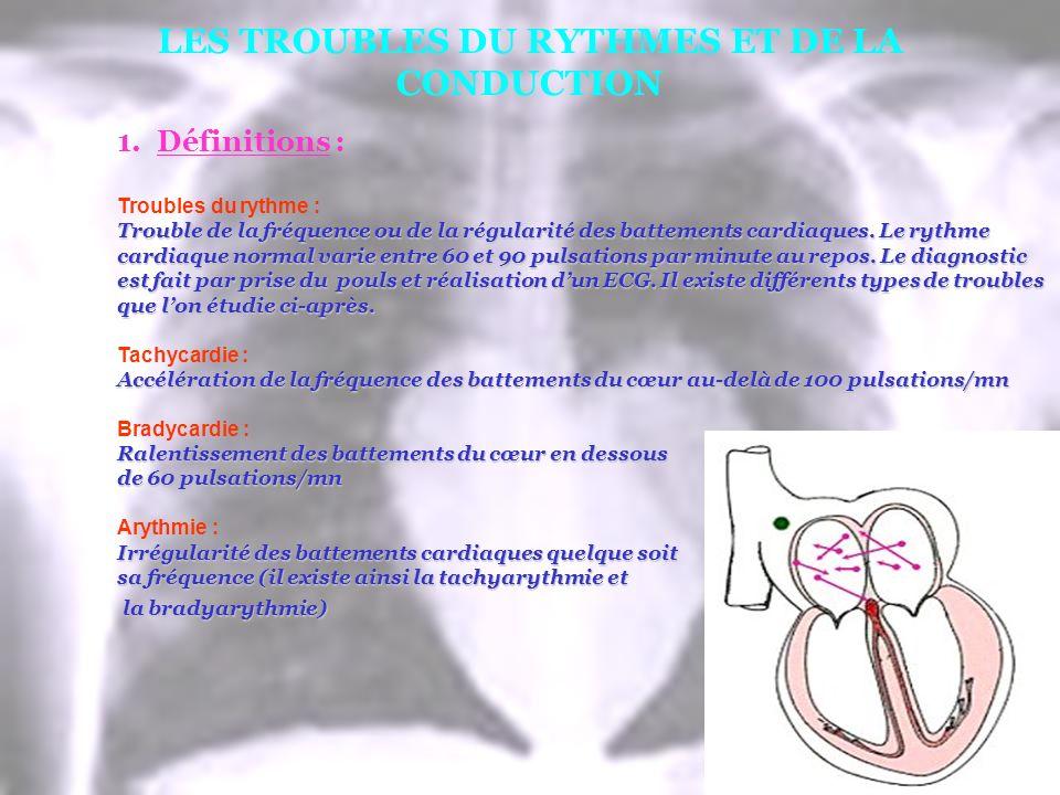 LES TROUBLES DU RYTHMES ET DE LA CONDUCTION 1.Définitions : Troubles du rythme : Trouble de la fréquence ou de la régularité des battements cardiaques