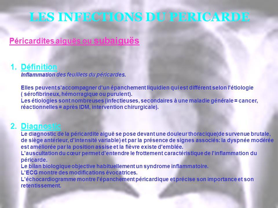 LES INFECTIONS DU PERICARDE 1.Définition Inflammation des feuillets du péricardes. Elles peuvent s'accompagner d'un épanchement liquidien qui est diff