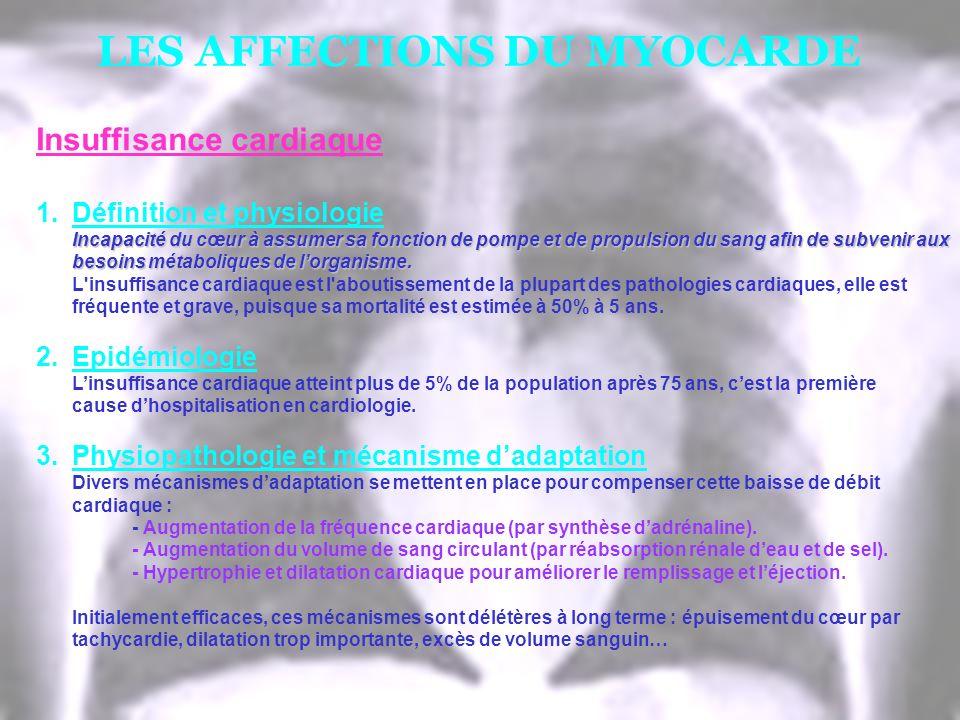 LES AFFECTIONS DU MYOCARDE Insuffisance cardiaque 1.Définition et physiologie Incapacité du cœur à assumer sa fonction de pompe et de propulsion du sa