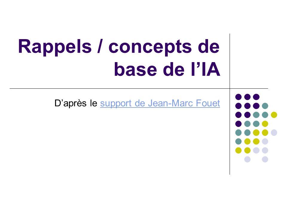 Rappels / concepts de base de lIA Daprès le support de Jean-Marc Fouetsupport de Jean-Marc Fouet