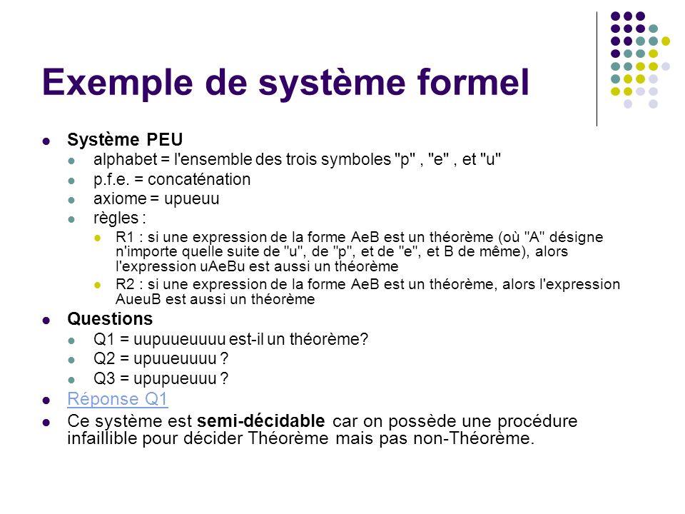 Exemple de système formel Système PEU alphabet = l'ensemble des trois symboles