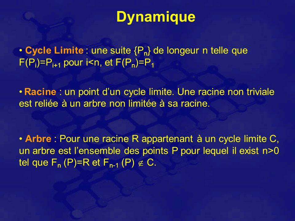 Dynamique Cycle Limite : une suite {P n } de longeur n telle que F(P i )=P i+1 pour i<n, et F(P n )=P 1 Racine : un point dun cycle limite.