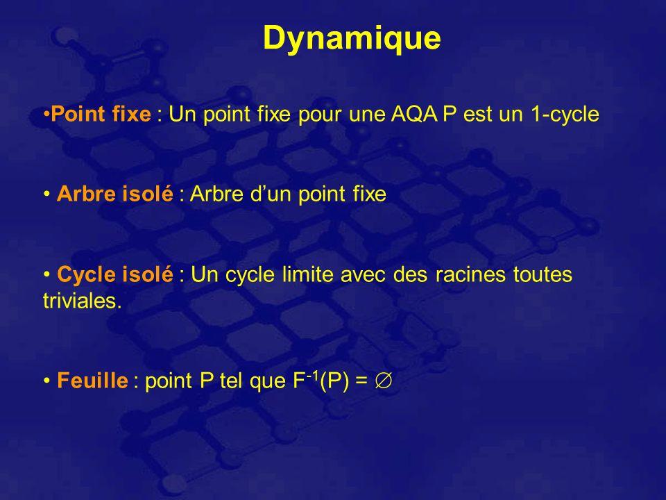 Dynamique Point fixe : Un point fixe pour une AQA P est un 1-cycle Arbre isolé : Arbre dun point fixe Cycle isolé : Un cycle limite avec des racines toutes triviales.