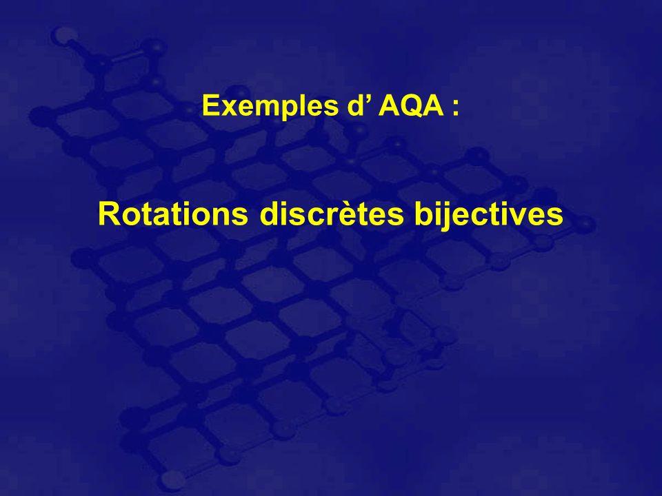 Exemples d AQA : Rotations discrètes bijectives