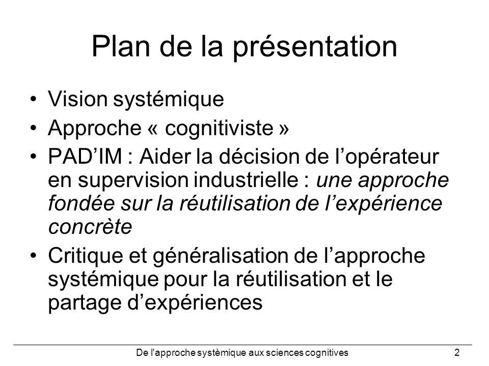 De l'approche systèmique aux sciences cognitives2 Plan de la présentation Vision systémique Approche « cognitiviste » PADIM : Aider la décision de lop