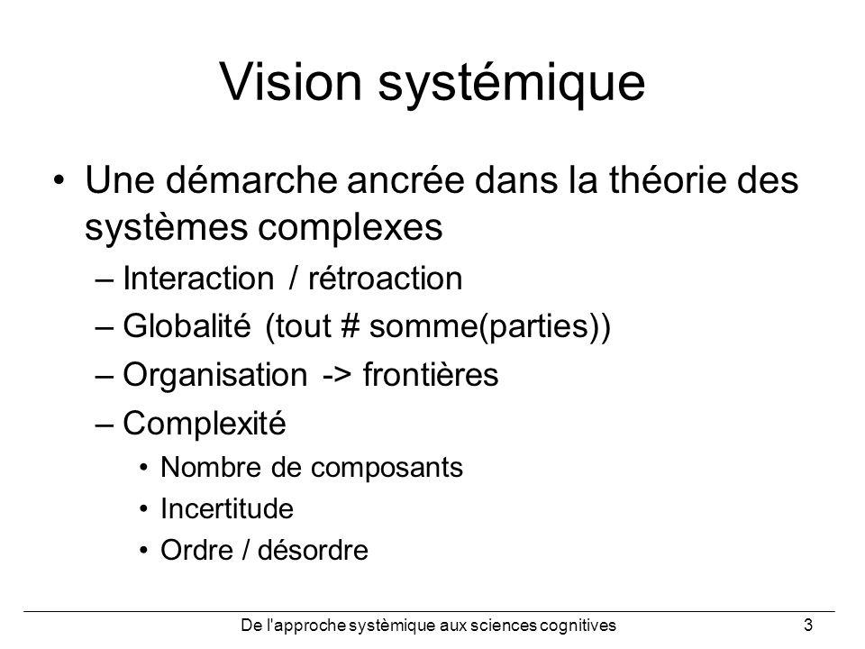 De l'approche systèmique aux sciences cognitives3 Vision systémique Une démarche ancrée dans la théorie des systèmes complexes –Interaction / rétroact