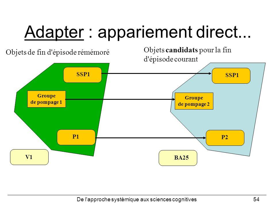 De l'approche systèmique aux sciences cognitives54 Adapter : appariement direct... SSP1 Groupe de pompage 2 P2 BA25 SSP1 Groupe de pompage 1 P1 V1 Obj