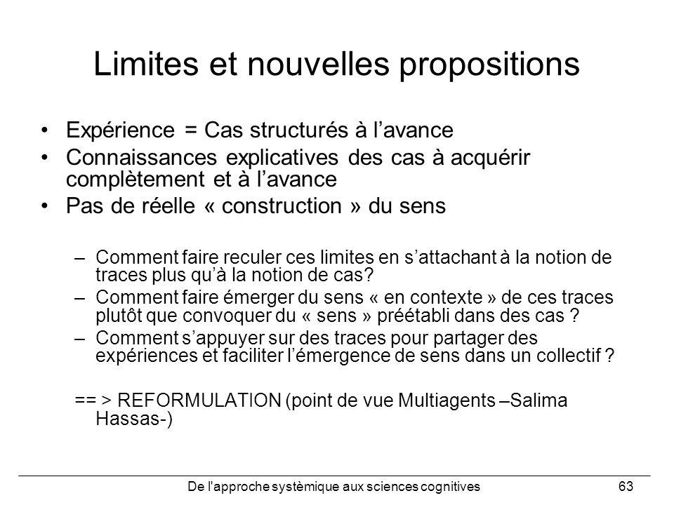 De l'approche systèmique aux sciences cognitives63 Limites et nouvelles propositions Expérience = Cas structurés à lavance Connaissances explicatives