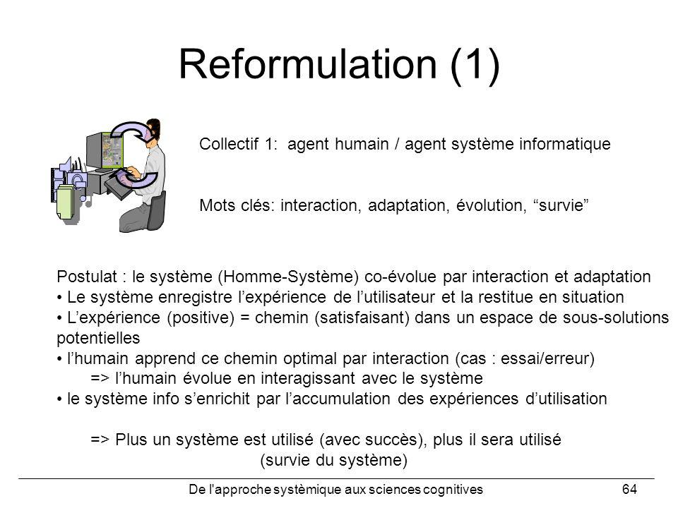 De l'approche systèmique aux sciences cognitives64 Reformulation (1) Collectif 1: agent humain / agent système informatique Mots clés: interaction, ad