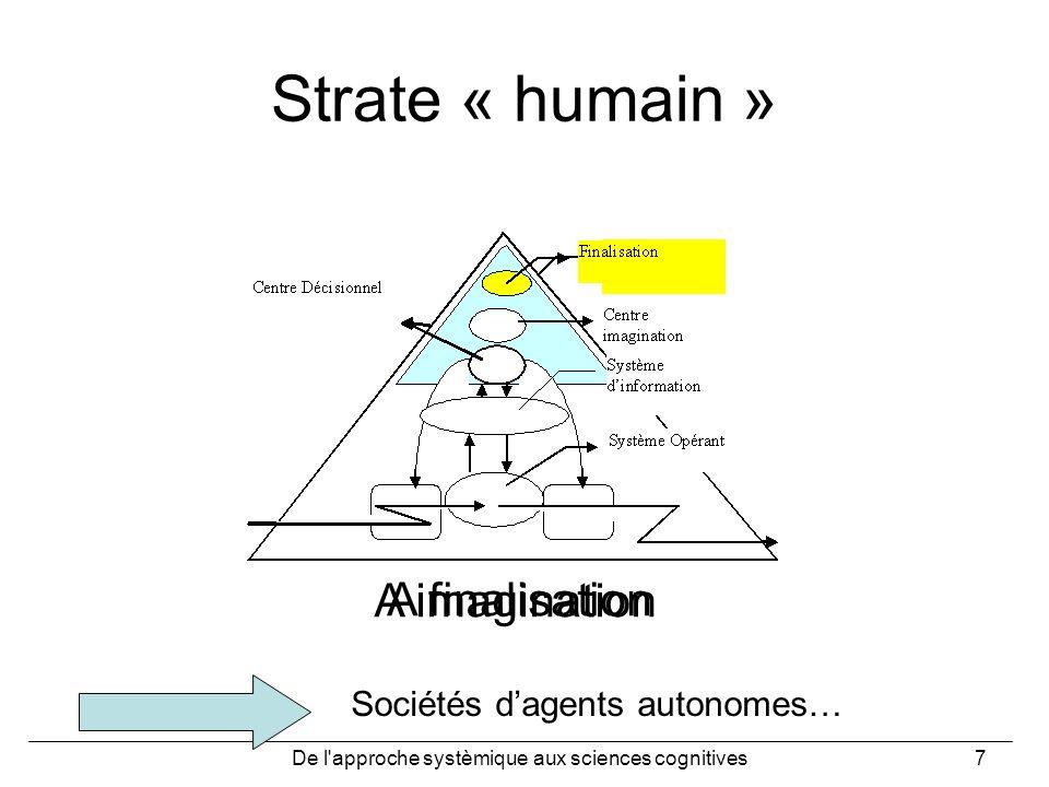 De l'approche systèmique aux sciences cognitives7 Strate « humain » A imagination A finalisation Sociétés dagents autonomes…
