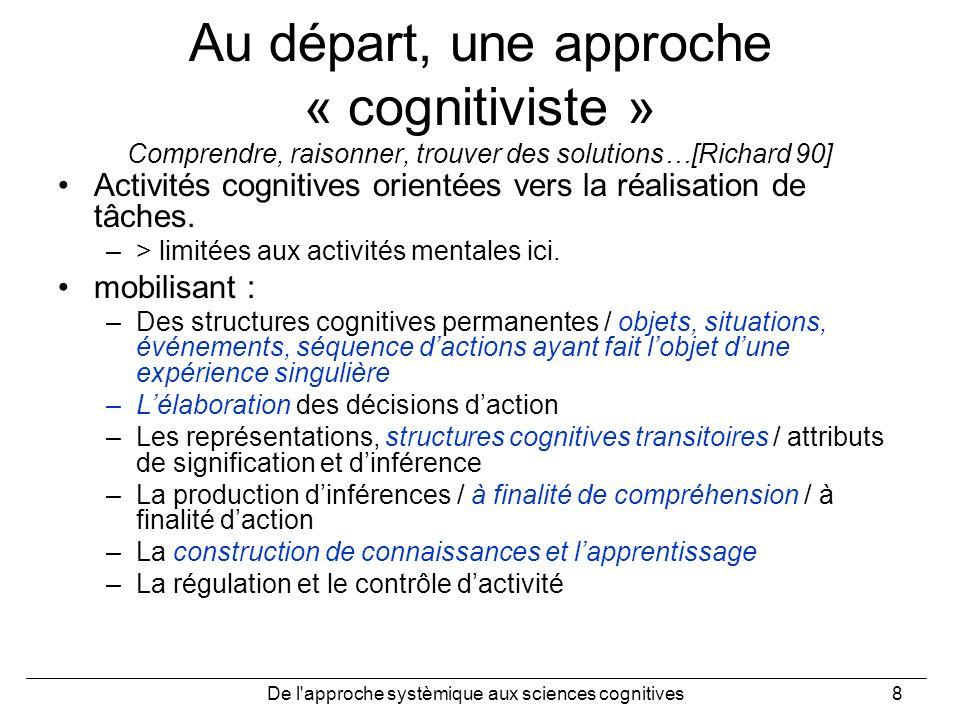 De l'approche systèmique aux sciences cognitives8 Au départ, une approche « cognitiviste » Comprendre, raisonner, trouver des solutions…[Richard 90] A