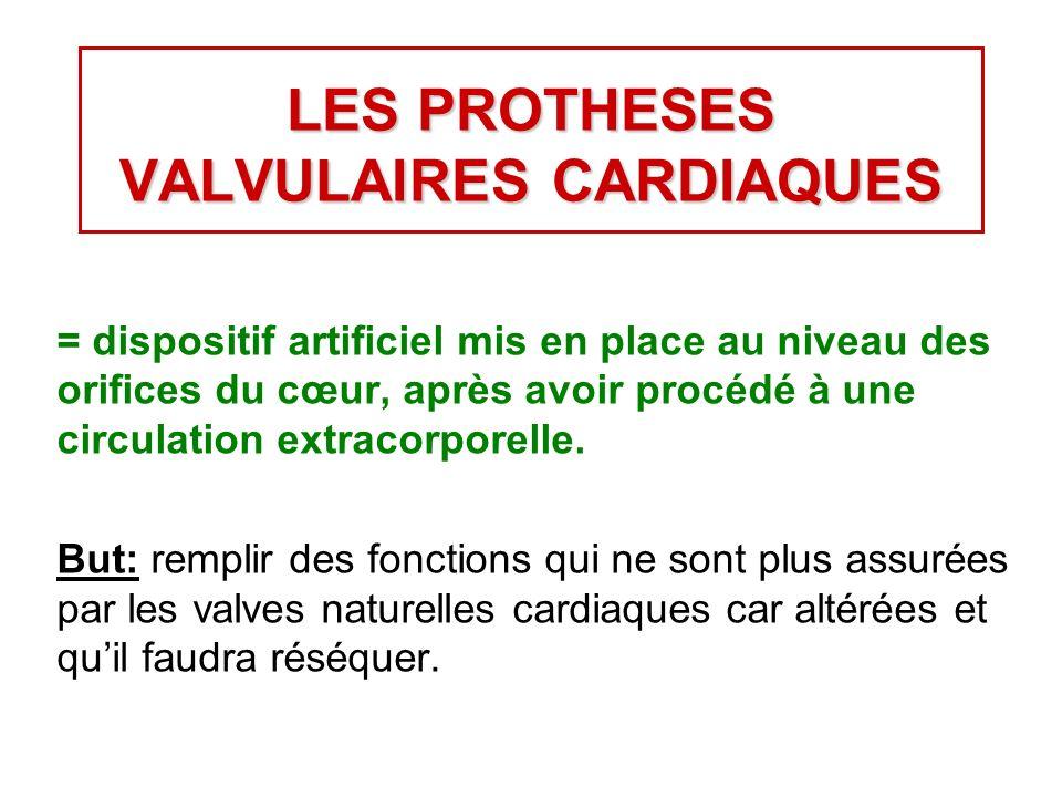 LES PROTHESES VALVULAIRES CARDIAQUES = dispositif artificiel mis en place au niveau des orifices du cœur, après avoir procédé à une circulation extracorporelle.