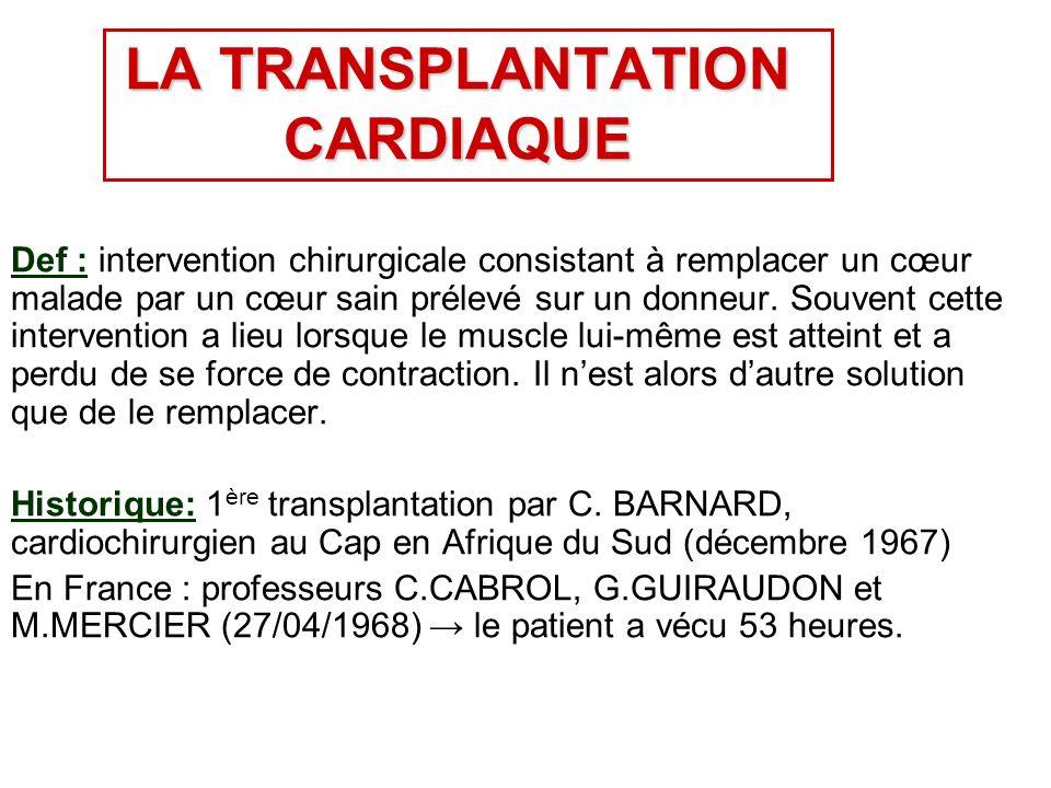 LA TRANSPLANTATION CARDIAQUE Def : intervention chirurgicale consistant à remplacer un cœur malade par un cœur sain prélevé sur un donneur.