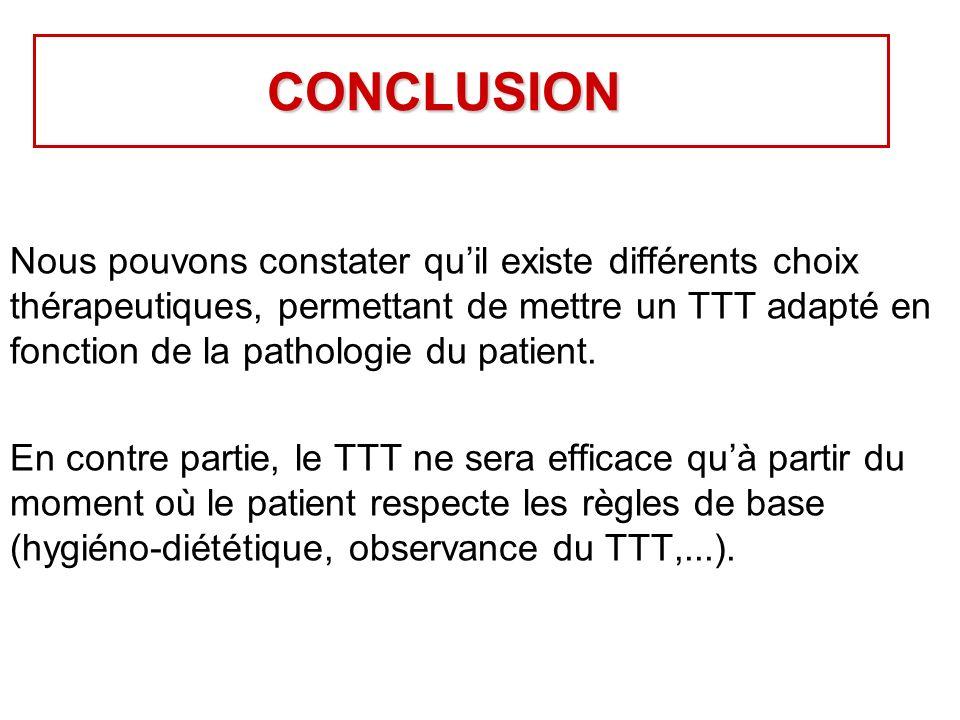 CONCLUSION Nous pouvons constater quil existe différents choix thérapeutiques, permettant de mettre un TTT adapté en fonction de la pathologie du patient.